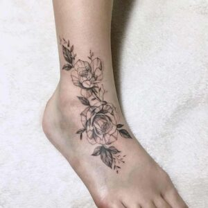 Cool Floral Foot and Ankle Tattoo