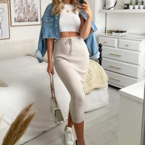 Nude Skirt with a Simple White Top
