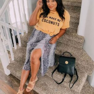 Print Skirt with a Printed T-Shirt