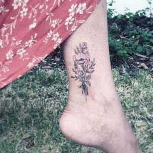 Delicate Floral Ankle Tattoo