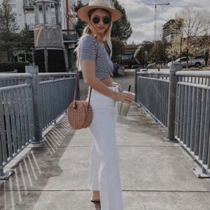 White Jeans with a Striped Shirt