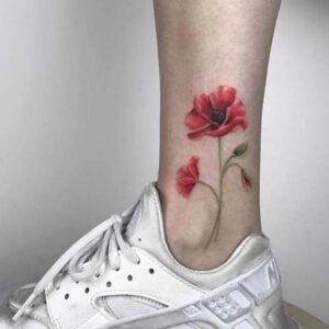 Bright Poppy Ankle Tattoo