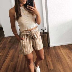 Nude Top with Striped Shorts