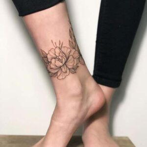 Amazing Floral Ankle Bracelet Tattoo