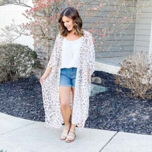 Leopard Print Cover up with a Top and Shorts