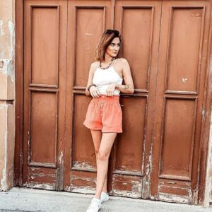 Light Orange Shorts and White Sneakers