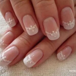 Pink nails with white tip