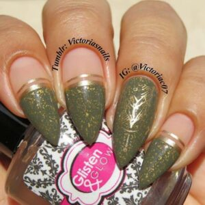 Gold and olive nails