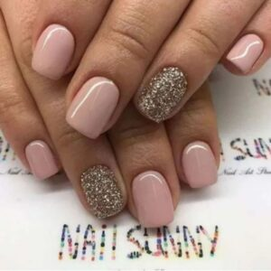 Pink with sparkle gold short nails