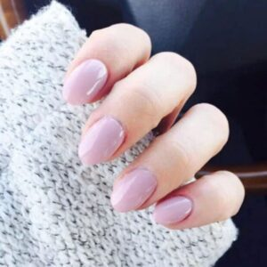 Short pink almond nails