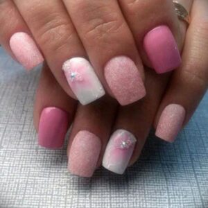 Cotton candy short acrylic nails