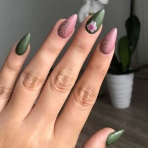 Pink and olive floral nails