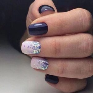 Purple and glitter nails
