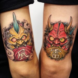 Fujin Oni Mask Tattoo