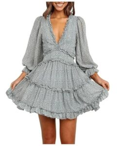 Long Sleeve Floral Dress with ruffles