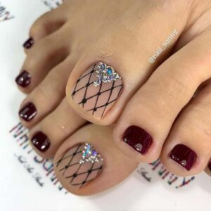 Burgundy Nails with Lace Nail Art