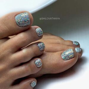 Sparkly Silver Toe Nails